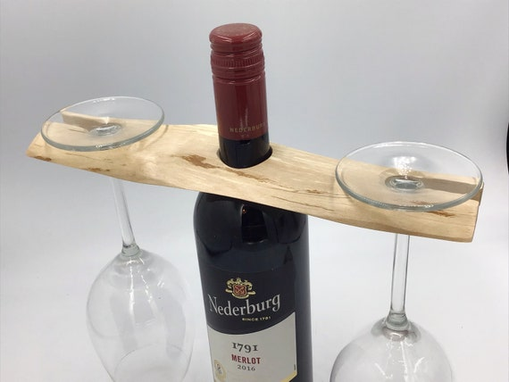 Wine glass holder - Birch wood - Wine lovers gift - Accessory for serving wine - Holds 2 wine glasses - Sustainable woodland eco gift idea
