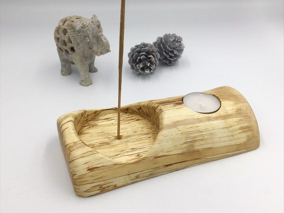Candle holder & incense holder - Spalted Birch wood - For tealights and joss sticks- Rustic wooden home decor gift. Stylish new / first home