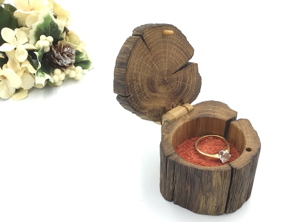 Ring Box - Engagement Ring Holder - Live Edge Wooden Ring Box - Ancient Oak Heart Wood and Red Suede – Wooden Hinge & Clasp – Autumn tones