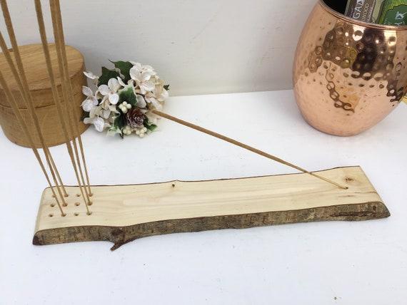 Joss stick incense holder. Wooden incense stick storage for 12 extra joss sticks. Hand-carved. Live edge hazel wood. Bark. Rustic Home Decor