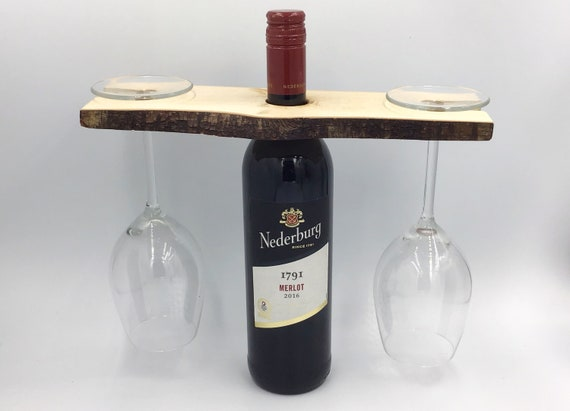 Wine butler - Wine glass holder - Solid wooden wine caddy for serving - For 2 glasses - Great wine lover accessory or couple Christmas gift