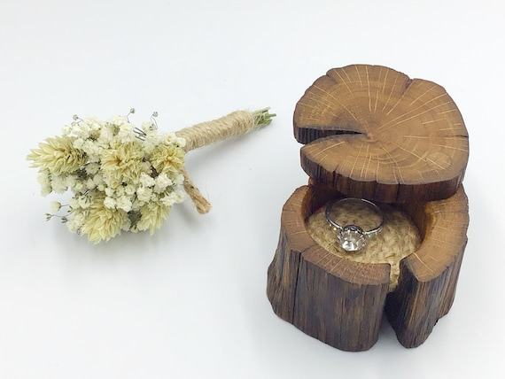 Proposal Ring Box - Engagement Ring Holder - Ancient Oak Heart Wood & suede leather (Colour Choices Available) - Handmade Rustic Woodland