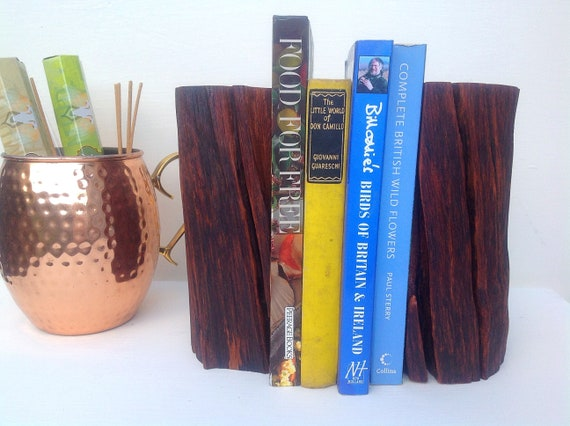 Bookends. Bookend pair. Stylish Christmas book lover / book worm gift. Solid oak tree branch bookends. Decorative. Modern Rustic style.