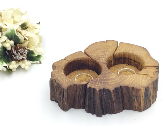 Ring Bearer Box. Wedding ring presentation dish pillow cushion. Woodland wedding ring accessory. Oak wood and suede. Heirloom for bedside