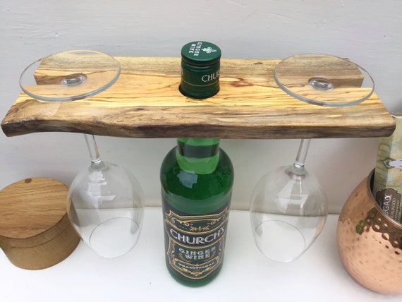 Wine butler / caddy - Spalted hardwood - Wine accessory for serving wine - For 2 wine glasses - Great gift for a wine drinking couple ;)