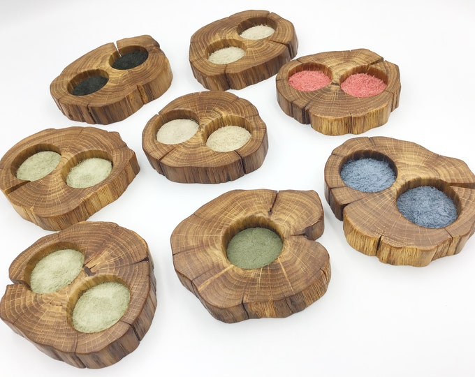 Bedside Ring dish. Natural Oak Wood & suede inserts. Keepsake Bedside jewellery bowl / tray. Christmas gift for her. Dark ancient Oak wood