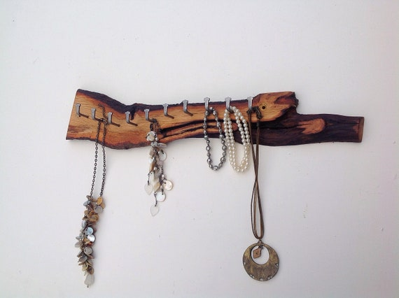 Jewellery display rack. Oak wood. Hanging display for jewellery / necklaces. Wall mounted. Live edge branch. 10 hanging hooks. Wooden rack