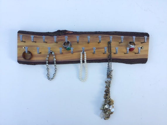Jewellery rack. Hanging display. Live edge natural cherry branch. Wood wall rack with 23 hanging hooks for necklaces etc. Jewellery gift.
