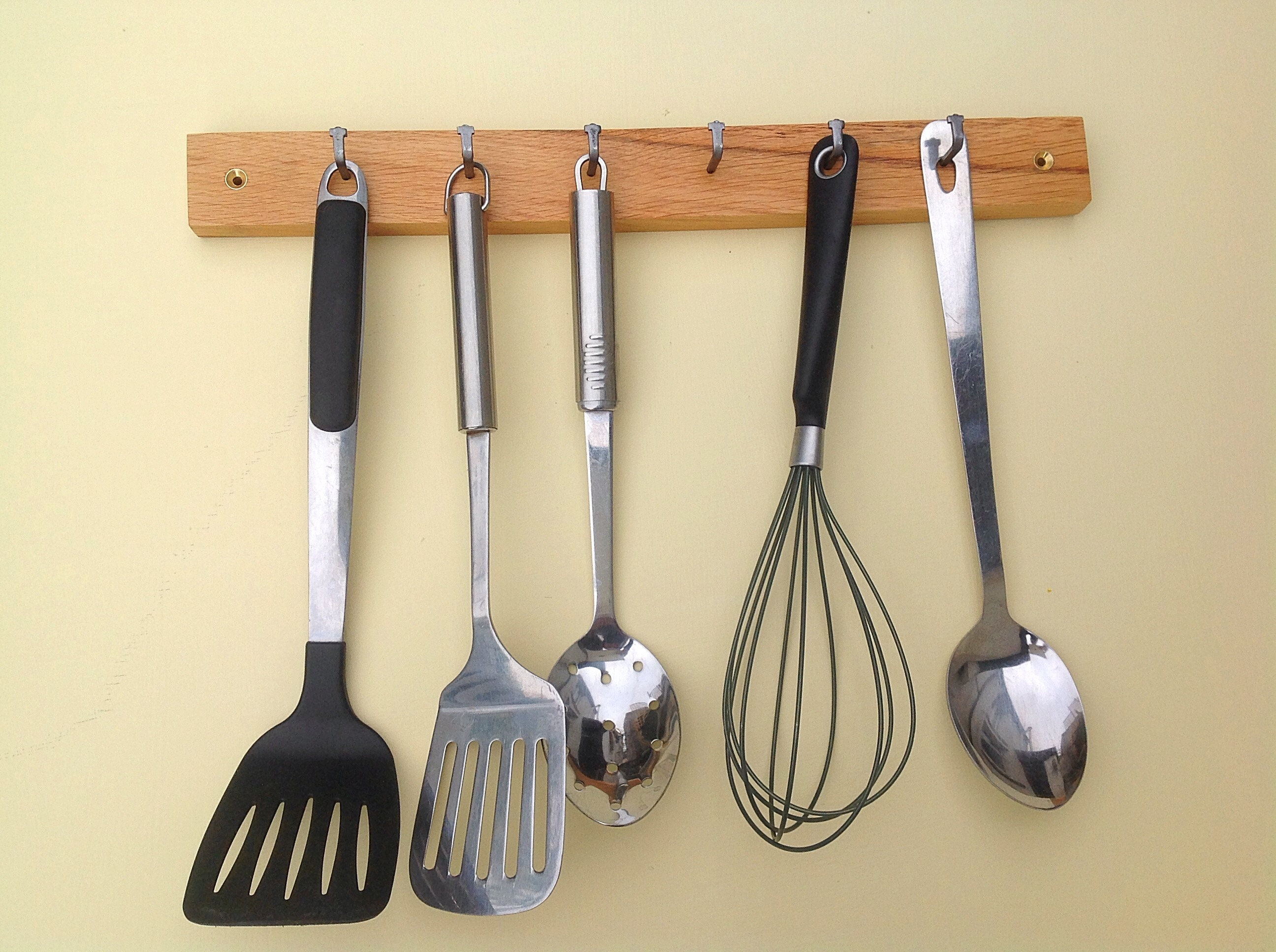 Utensil rack. Oak wood kitchen storage. Wall mounted ...