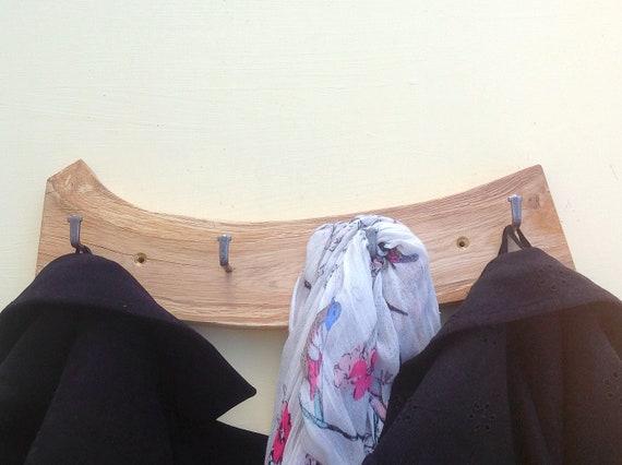 Coat rack - Solid Oak - Wall mounted - Live edge coat rack - Hooks on natural wood - For coats, school bags etc - Modern rustic wall rack