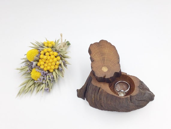 Ring Box - Engagement Ring Holder- Ancient Oak Heart Wood- Handcarved dish using only hand tools- Handmade Rustic Woodland- Heirloom Oak