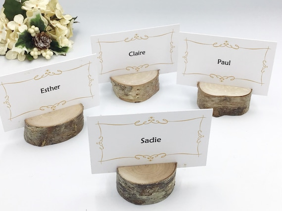 10 Place holders / Name card holders / Escort Cards / Place setting / Wedding or Special celebration / Table decor / Rustic Woodland Boho