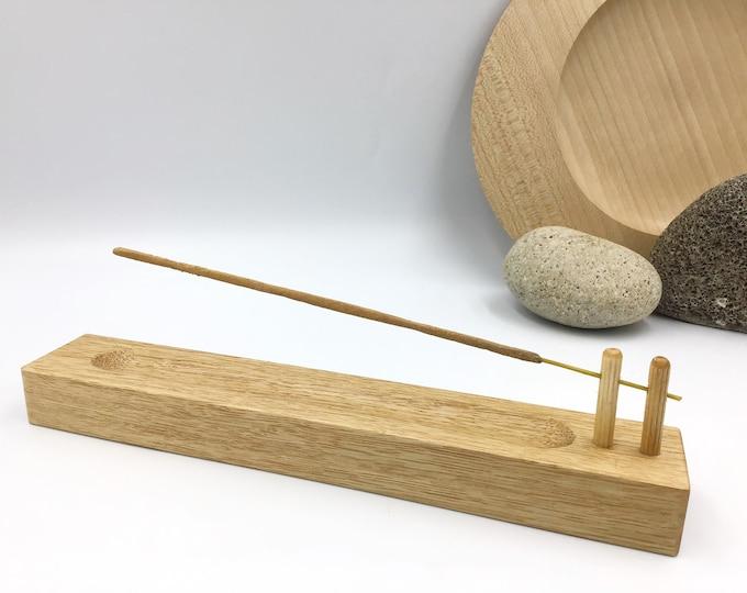 Incense stick holder. Solid Oak wood. Handmade wooden joss stick incense holder. Hand-carved Ash collection channel. Birthday incense gift