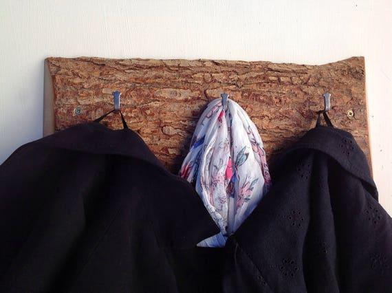 Solid Oak Coat rack. Live edge. Hooks on solid oak wall rack. Branch slice. Hanging hooks for coats... Natural wood bark. Woodland forest
