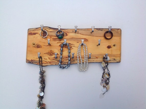 Jewellery display rack. Birch hanging display for jewellery necklaces etc. Wall mounted spalted wooden rack- 14 hanging hooks. Woodland rack