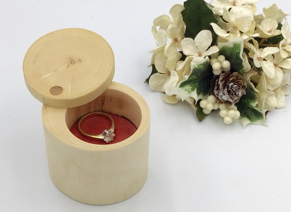 Ring box. Engagement ring box. Jewellery box. Natural hazel proposal box. Ring Holder. Wooden ring box hand  carved wood. Red suede base