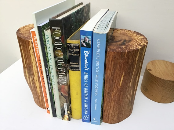 Book end pair. Oak wood bookends. Natural rustic home decor. Book lover / worm gift. Perfect for paperback books / child's nursery / bedroom