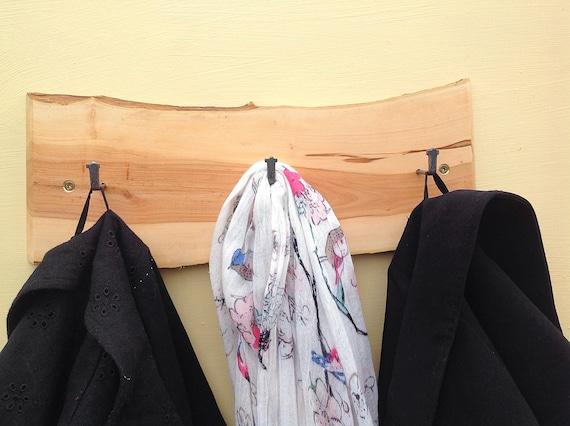 Coat Rack. Welsh native ancient Crab Apple slice. Live edge. Hooks on solid wood branch wall rack. Natural wood bark. Nursery bedroom decor