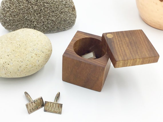 Cuff link Box - Cufflink Holder - Square Wooden Box - Sustainable Wooden Box with Suede Inlay (range of colours available) - Mahogany Wood