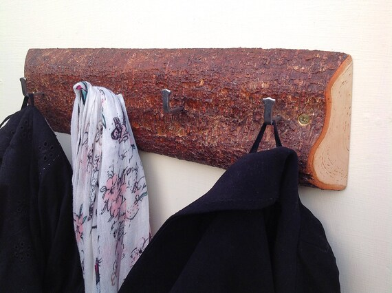 Coat rack. Solid birch wood. Live edge. Hooks on natural birch. Wall rack. Branch with bark. Hanging hooks for coats... Natural wood bark