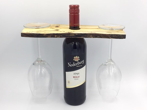 Wine glass holder - Spalted hardwood - Wine accessory - Strikingly Unusual Patterns - For 2 wine glasses - Woodland eco Christmas gift idea