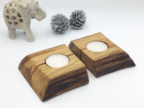 Oak candle holders - Set of 2 tealight holders - Ancient Oak branch  - Christmas display candles - Weathered rustic Oak - Couple gift idea