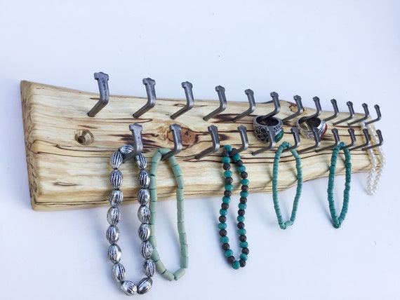 Jewellery display rack. Hanging display for jewellery necklaces etc. Wall mounted spalted wood rack- 23 hanging hooks. Wooden woodland rack
