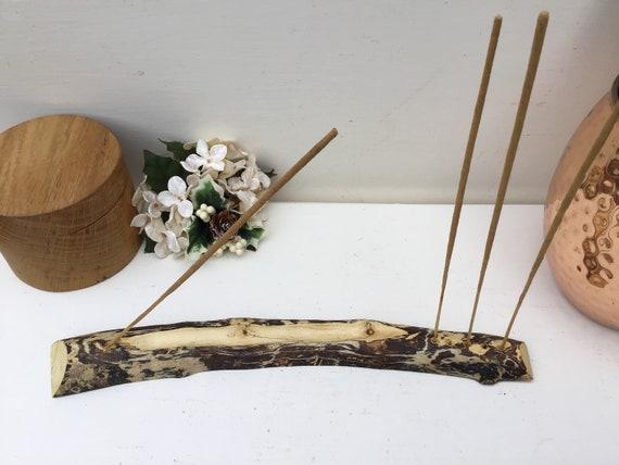 Driftwood joss stick holder. Incense stick holder. Incense burner. Hand carved incense burner. Natural found drift wood branch. Sea Beach