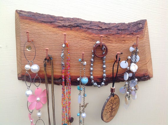 jewellery rack. Hanging display. Natural Oak wood branch. Wall rack with 7 copper hanging hooks for necklaces etc. Jewellery box alternative