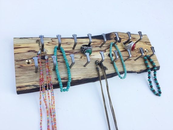 Jewellery display rack. Hanging display for jewellery necklaces etc. Wall mounted spalted wood rack- 17 hanging hooks. Wooden woodland rack