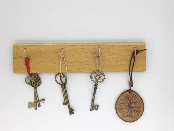 Key rack - Oak wood & Copper nail hooks - 4 hook - Key rack hooks - Wall Mounted - New Home / Housewarming gift - Modern rustic home decor
