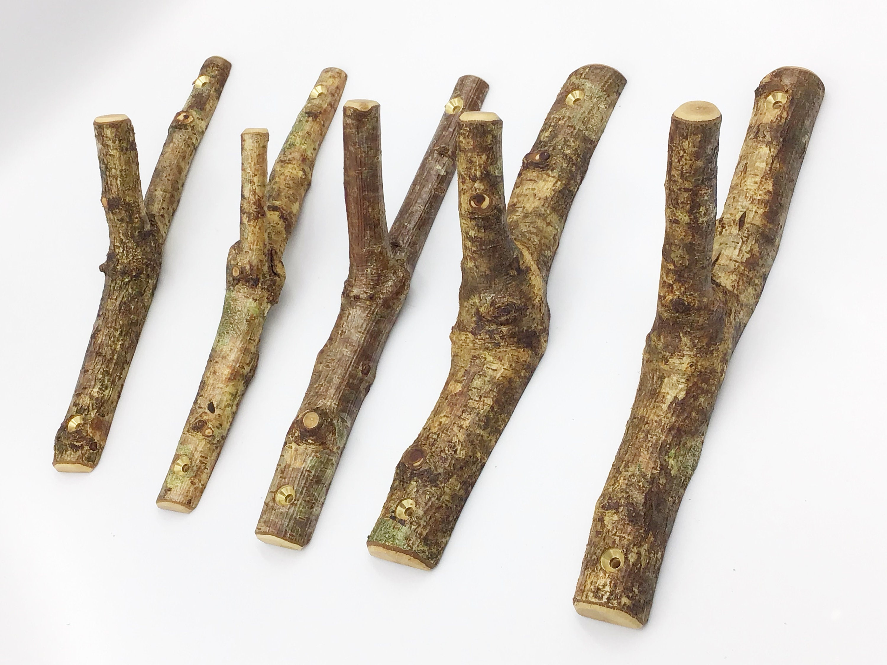 Coat Hooks Wooden Branch Coat Pegs From Natural Wood Set