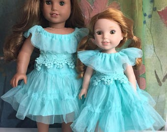 American Girl  and Wellie Wisher Sisters Matching Dresses Set
