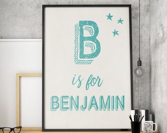 Name printable, custom name print, blue name sign, room name, boys bedroom, Personalised Kids wall art print, Initial monogram letter art