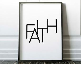 Faith, typography poster, love hope faith set, wall art, home print, printable wall art, downloadable print, digital art, black and white