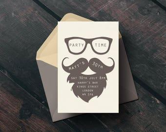 printable birthday card invitation, Adult invitation, hipster birthday party, male personalised invitation, DIY invites, Little Tiger Design