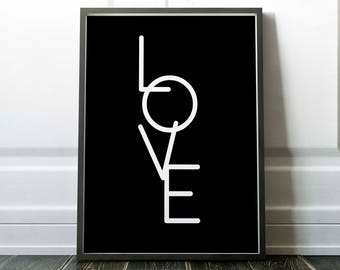 Love, typography poster, love hope and faith set, wall art, home print, printable wall art, downloadable print, digital art, black and white