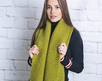 Green wool scarf Knit scarf Wool scarf Super long scarf Greenery scarf Scarf women Scarf men Scarf men wool Scarf men knit Scarf crochet