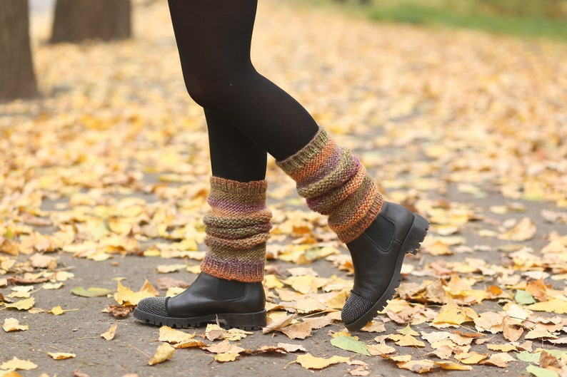 A Pair of Chunky Knit Leg Cuffs Leg Warmers Blue Grey Black