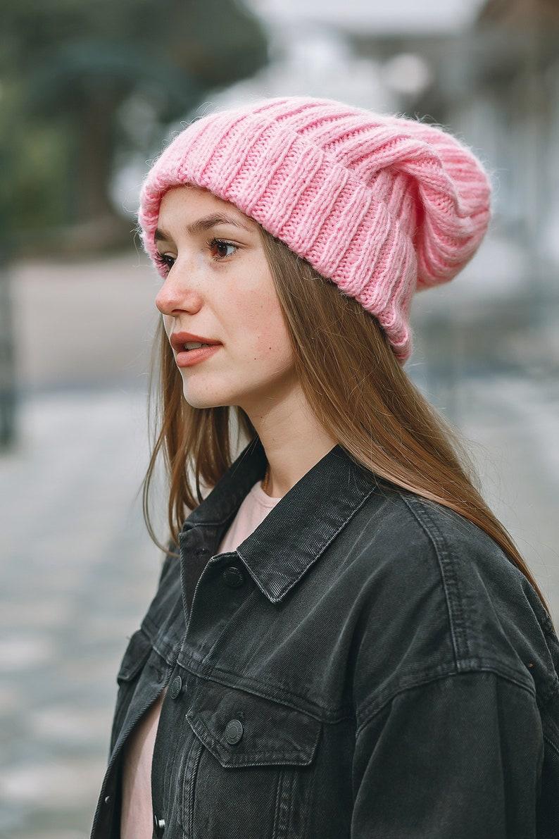 bace4d04038 Wolle Hut Winter Mütze stricken Mütze stricken Hut Rosa Winter