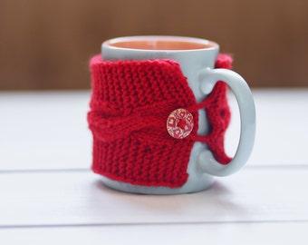 Red mug cozy Coffee cup cozy Cup cozy Coffee cup sleeve Red cup sleeve Red cup cozy Coffee cozy Tea cozy Handmade cozy Holiday gift