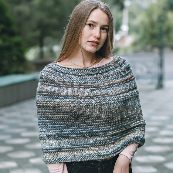 Strick Cape Stricken Poncho Stricken Umhang Poncho Häkeln Etsy