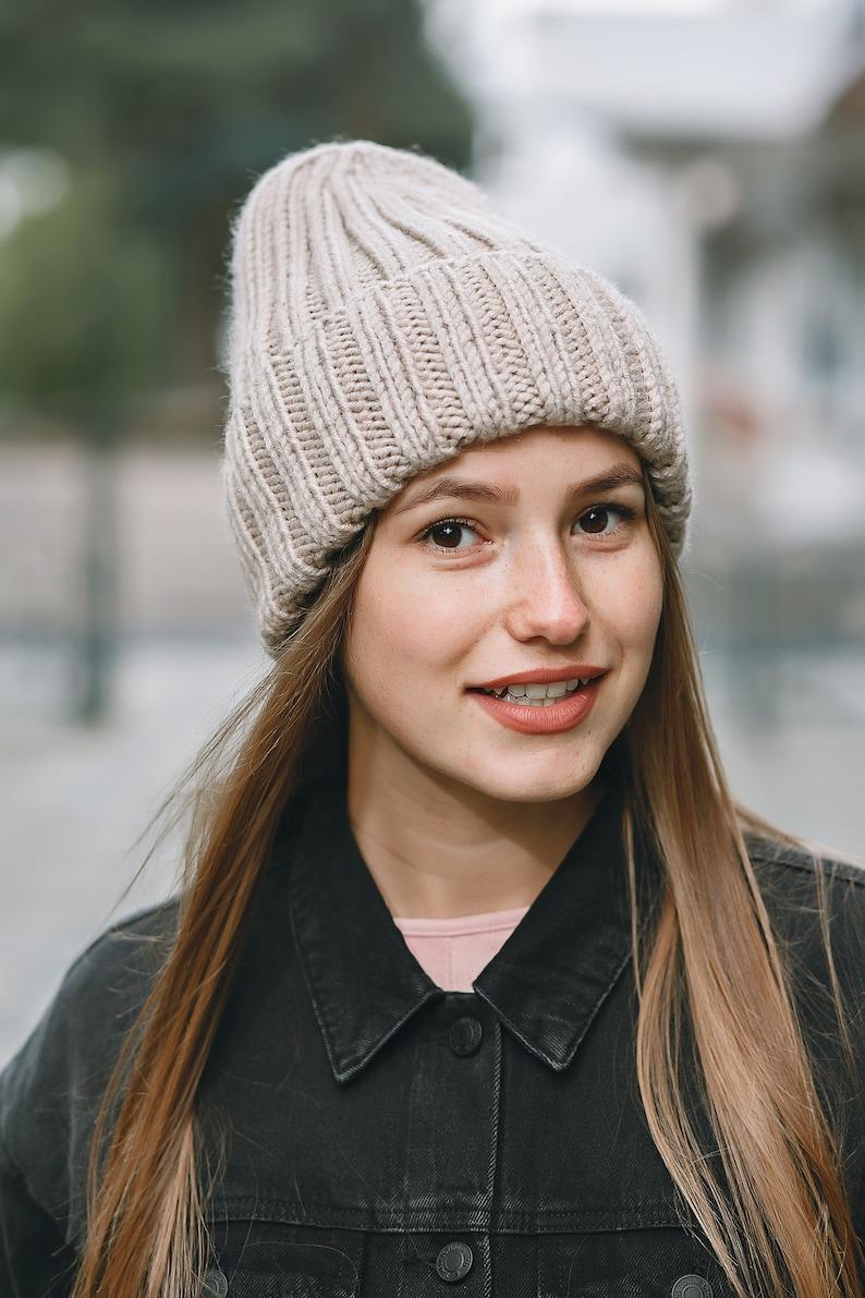 62556a165e3 Knit hat woman Bonnet femme Beige hat Wool winter beanie Knit