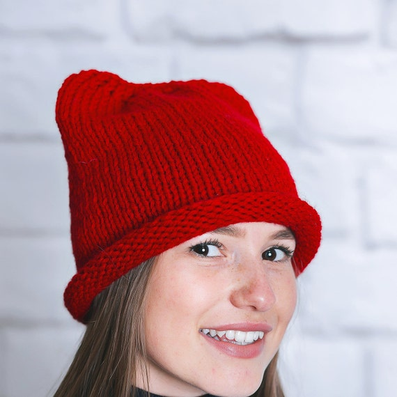 Red winter hat Red winter beanie Red beanie women Red hat  2b56e047c65