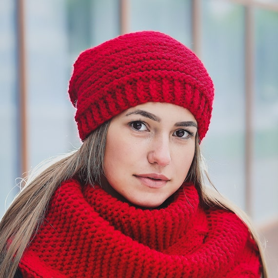 Knit hats women Chunky knit hat Chunky beanie Red infinity  6437523a8e3