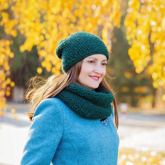 2e37aae9cbaf Wool cowl scarf Snood scarf Green hat women Cowl neck scarf   Etsy