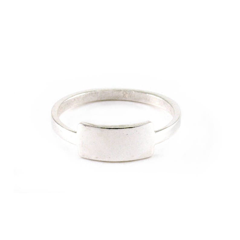 Customizable Sterling Silver Tab Ring - up to 5 letters