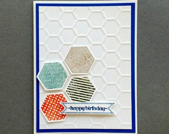Happy birthday card, manly Birthday card, masculine Birthday card, Birthday card, card for him, trendy card for him, Stampin up
