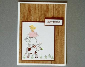 Birthday Card, Happy Birthday card, Birthday gift, Stampin up card, barnyard card, Birthday card him, Birthday card her, hand stamped card