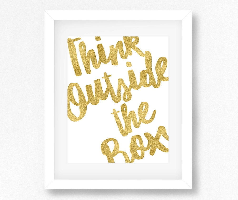 Think Outside the Box Quote Inspirational Quotes Gold | Etsy